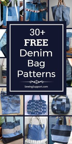 Over 30 free denim bag & purse patterns tutorials and diy sewing projects mostly from jeans. Get ideas for upcycling repurposing and recycling your old jeans into tote bags crossbody purses and more. Denim Bag Patterns, Bag Patterns To Sew, Quilted Purse Patterns, Sewing Patterns, Jean Diy, Handbag Tutorial, Diy Jeans Bag Tutorial, Purse Tutorial, Denim Tote Bags