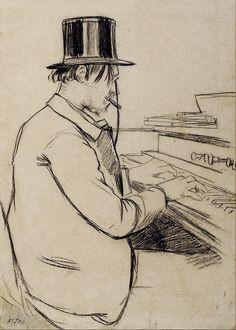Portrait d'Erik Satie jouant de l'harmonium, 1891 par Santiago Rusinol (1861-1931)