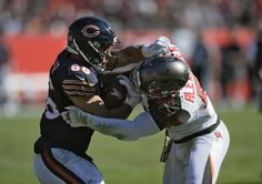 Bears. vs. Buccaneers:  36-10, Buccaneers - November 13, 2016:    Tampa Bay Buccaneers middle linebacker Kwon Alexander (58) ties up Chicago Bears tight end Zach Miller (86) after a reception during the second quarter of an NFL football game Sunday, Nov. 13, 2016, in Tampa, Fla.