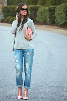 Boyfriends   Pink Heels -- all this stuffs...dittos jeans and those shoes