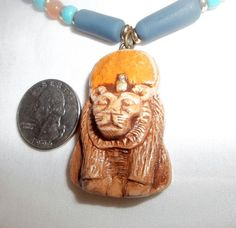 Goddess Sekhmet Amulet Egyptian Style Polymer Clay Scarab, Carnelian, Turquoise Beaded Necklace