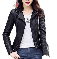 YUNY Women Motorcycle Leather Silm Fit Windproof Coat Bomber Jacket 2 4XL