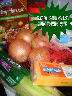 meals under $5 - Im not saying they are healthy meals necessarily.  Lots of them use frozen food/boxed foods, etc., but they will feed your family and with a side of veggies will do just fine.