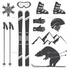 Set of Skiing Equipment Silhouette Icons - Sports/Activity Conceptual Ski Drawing, Snow Tattoo, Ski Equipment, Ski Helmets, Auction Projects, Sport Icon, Ski And Snowboard, Snowboarding, Snow Skiing