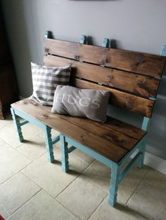 Transform two old chairs into a bench for extra sitting or for your foyer.
