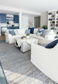 Lake House Family Room, White Family Rooms, Blue And White Living Room, White Rooms, Coastal Living Rooms, Home Living Room, Living Room Decor, Blue Room Decor, Coastal Living Magazine