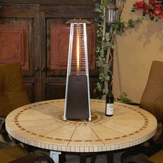 Sunmaster Bonfire Tabletop Glass Tube Propane Patio Heater - Bronze | WoodlandDirect.com: Propane Patio Heaters #LearnShopEnjoy
