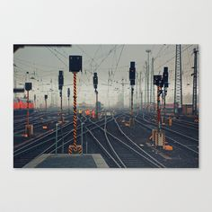 trainyard Stretched Canvas by Xoxo - $85.00
