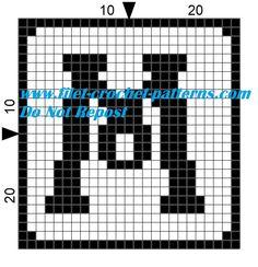 Alphabet letter M filet crochet pattern
