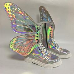 Women S Fashion Sandals Code: 1399979325 Sock Shoes, Cute Shoes, Me Too Shoes, Holographic Fashion, Rainbow Sneakers, Kawaii Shoes, Stocking Tights, Boots For Sale, Sneaker Boots