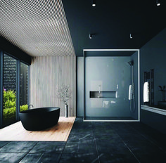 Minimal Interior Design Inspiration - Home Decor Interior Design Examples, Black Interior Design, Interior Design Inspiration, Design Ideas, Black Tile Bathrooms, Gold Bathroom, Bathroom Mirrors, Small Bathrooms, Dream Bathrooms