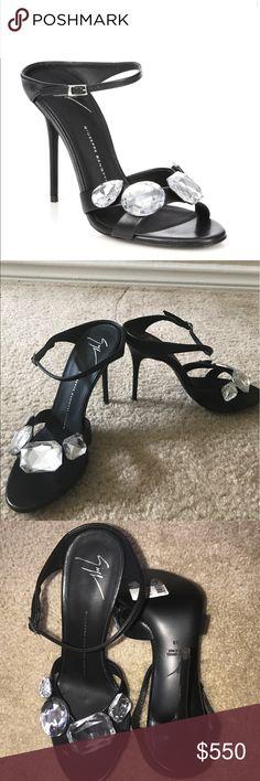 Giuseppe Zanotti Jeweled Leather Slide in sandal Clasy sandal, brand new. Giuseppe Zanotti Shoes Heels