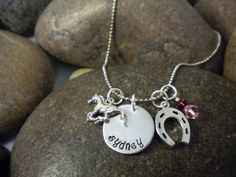 Custom Hand Stamped Horse and Horse Shoe Charm Necklace by SWCtoo, $28.00
