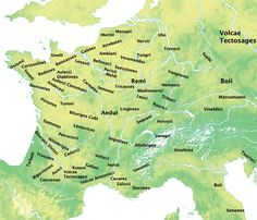 This is a map of the tribes of Celtic Gaul. The only tribe that I notice being missing is the Arverni, though it is still discussed with the rest of the descriptions on the original webpage, so it hasn't been totally left out! European History, World History, Ancient History, Family History, Ancient Rome, Celtic Nations, Celtic Warriors, France Map, Celtic Culture
