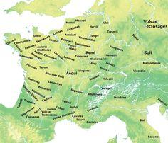 Carte des tribus celtiques vers 60 avant JC. La Saône et le Doubs au Nord font la frontière entre les séquanes (futurs comtois) et les linguons ou les eduens (bourguignons).
