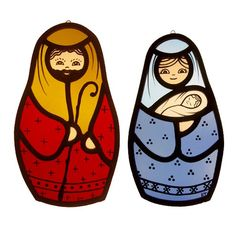 Stained glass nativity set - Mary and Joseph and Baby Jesus