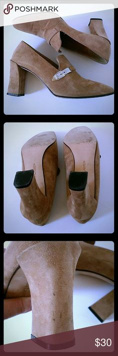 Ralph Lauren Suede Loafers Ralph Lauren Camel Color Suede Loafers . Size 5 1/2. Good used condition. Heal height is 3 inches. Has some spots in heal area but still looks great. See pictures. Ralph Lauren  Shoes Heels