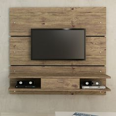 """Ellington 1.0 2-Shelf Entertainment Center in Nature White/Pro Touch - Wall Hung MDF - Weights 128.5 lb - Holds 200 lbs - Takes up to 60"""" TV - $383.82 on Amazon (free ship)"""