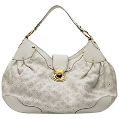 Pre-owned Louis Vuitton Louisvuittonmahinasolarhobobag Shoulder Bag ($1,214) ❤ liked on Polyvore featuring bags, handbags, shoulder bags, white, white purse, leather hobo handbags, hobo shoulder bags, white leather shoulder bag and white shoulder bag