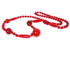 Vintage RED Glass Bead Necklace Long Flapper Single Strand Art Deco 1920s Jewelry