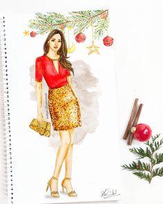 Wishing you all a Merry Christmas and a joyful holiday season 🎄🌟 Dress Design Drawing, Dress Design Sketches, Fashion Design Sketchbook, Dress Drawing, Fashion Design Drawings, Fashion Drawing Dresses, Fashion Illustration Dresses, Fashion Illustrations, Fashion Illustration Tutorial