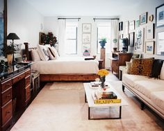Living Room Photo - A neutral studio divided into living and sleeping areas