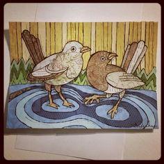Birds Handcut paper on bristol 5x7 2015 Loveandtheart - Nicole Ducharme  www.facebook.com/loveandtheart Bristol, Rooster, My Arts, Watercolor, Colour, Facebook, Animals, Animales, Watercolor Painting