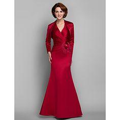 Vestido Para Mãe dos Noivos - Vermelho Sereia Longo Manga Comprida Cetim Tamanhos Grandes – EUR € 127.39