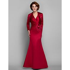 Trumpet/Mermaid Plus Sizes / Petite Mother of the Bride Dress - Ruby Floor-length Long Sleeve Satin – USD $ 116.99