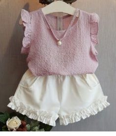 Cheap fashion girl clothing, Buy Quality girls clothing directly from China girls fashion clothing Suppliers: Belababy Girls Clothing Sets 2017 Summer Children 's Fashion Casual Pearl Sleeveless Chiffon Blouse + Shorts Suits Kids Clothes Girls Summer Outfits, Toddler Girl Outfits, Baby Girl Dresses, Baby Dress, Kids Outfits, Baby Girls, Toddler Girls, Girls Dresses Handmade, Clothes For Kids