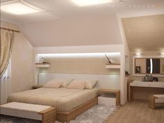 Дизайн спальни на мансарде в частном доме Attic Loft, Attic Rooms, Bedroom Loft, Home Furniture, Furniture Design, Fitted Bedrooms, Pretty Room, Dream Apartment, Minimalist Design