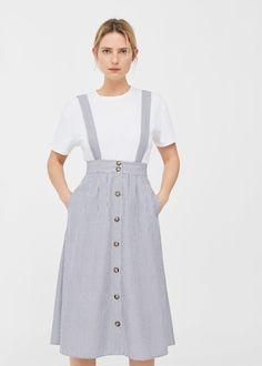 Striped pinafore dress -  Women | MANGO USA