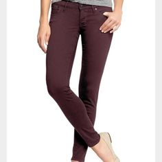 Rockstar burgundy skinny jeans These Rockstar skinny jeans are so comfortable, and the color is so versatile. I have another pair in my size and I wear them all the time! Great condition. Old Navy Pants Skinny