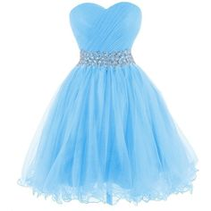 Tidetell 2015 Strapless Homecoming Beaded Short Prom Dress Ball Gown ($90) ❤ liked on Polyvore featuring dresses, gowns, blue, blue gown, blue evening gown, short homecoming dresses, short evening dresses and beaded prom dresses