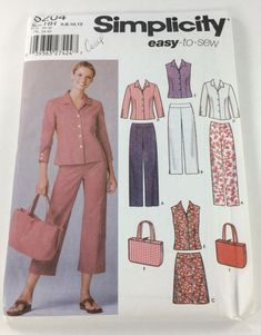 Simplicity  5204 Easy to Sew Misses Miss Petite Pants in two