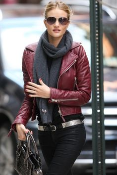 maroon leather jacket,  black skinnies & metallic accents.