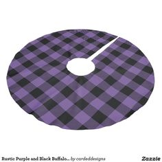 Rustic Purple and Black Buffalo Check Plaid Brushed Polyester Tree Skirt