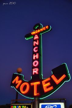 Anchor Motel vintage neon sign