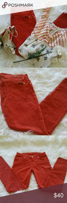 """SALE 7 for all Mankind Tangerine Corduroy Awesome 7 for all Mankind Tangerine Corduroy 30"""" Inseam 76% Cotton 22% Lyocelle 2% Spandex Great Condition 7 for all Mankind Jeans"""