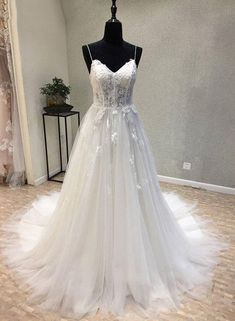 White v neck lace tulle long prom dress, white evening dress – trendty Wedding Dresses 2018, Prom Dresses, Silver Bridesmaid Dresses, Photos Of Dresses, Cheap Gowns, Perfect Wedding Dress, Lace Wedding, Wedding Beauty, Chic Wedding