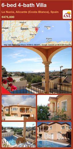Villa for Sale in La Nucia, Alicante (Costa Blanca), Spain with 6 bedrooms, 4 bathrooms - A Spanish Life Alicante, Costa, Central Heating, Murcia, Seville, Malaga, Laundry Room, Terrace, Swimming Pools