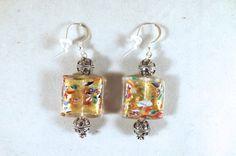 Klimt Style Earrings Gold Foil Earrings Venetian Glass Earrings Klimt Earrings Venetian Earrings Italian Earrings Art Earrings Gift for Her