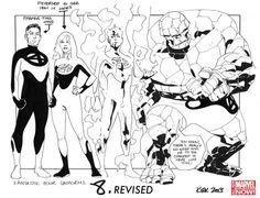 Boceto del nuevo traje de la Familia Fantástica para los cómics Fantastic Four vol. 5, por Leonard Kirk