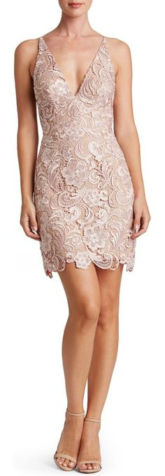 allie sheath dress by Dress the Population. Intricate, lustrous lace skims the hourglass silhouette of this decollate dress.