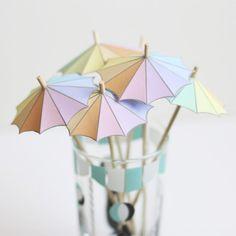 Tiny Umbrella Drink Stirrers with free printable!