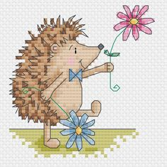 hedgehog 4 cross stitch patterns by DureneJones on Etsy