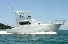 Brindisi 50 Sport Fishing Costa Rica. A Bertram 50', for sportfishing charters and special events for up to 15 clients, the luxurious, air conditioned. Specifications:Twin Detroit Diesel engines  Top speed 28knots,Onan 9kw generator, Fishing equipment (Penn & Shimano), AC Main salon, 2 bathrooms, shower and electric toilet, 2 bedrooms, Galley with refrigerator, microwave and stove. Food includes Meal, fruits and snacks. Beverages include soft drinks, bottled water, beer and coffee.
