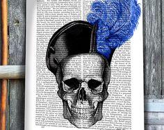 Pirate Skull & Blue Hat - skull Illustration Pirate decor skull print skull picture skull art gothic decor gothic art print pirate print