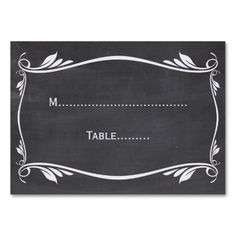 Ivory Flourish Chalkboard Place Card Business Card Template