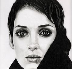 Winona Ryder Face Sketch, Winona Ryder, Halloween Face Makeup, Portraits, Drawings, Art, Sketches, Art Background, Head Shots